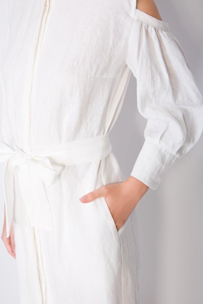 Robe asymétrique en lin avec les épaules dénudées Romanitza by Romanita Iovan image 3