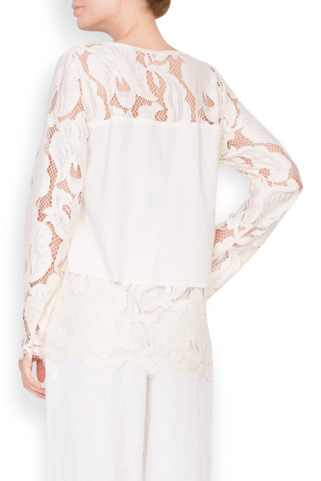 Lace-trimmed linen blouse Romanitza by Romanita Iovan image 2