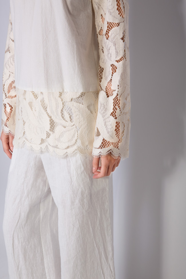 Lace-trimmed linen blouse Romanitza by Romanita Iovan image 3