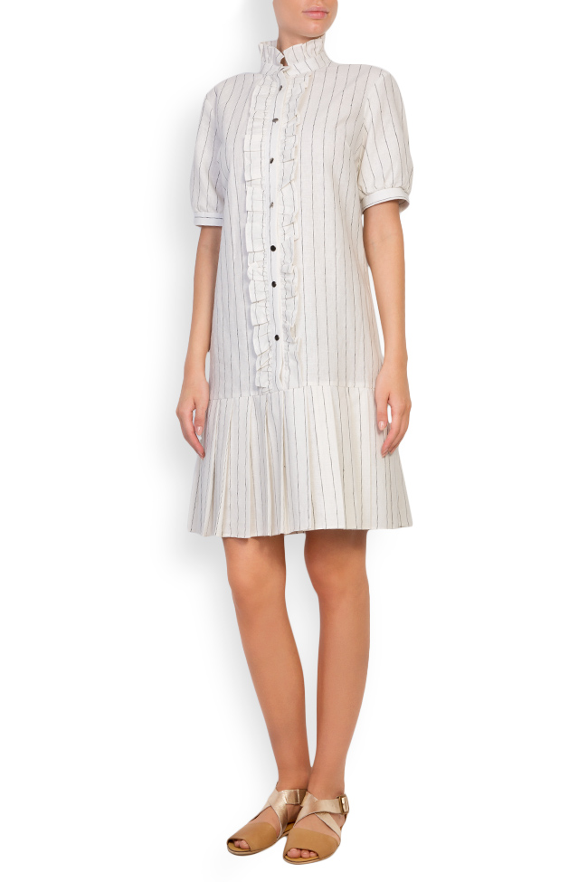 Striped linen-blend ruffled mini dress Ronen Haliva image 0