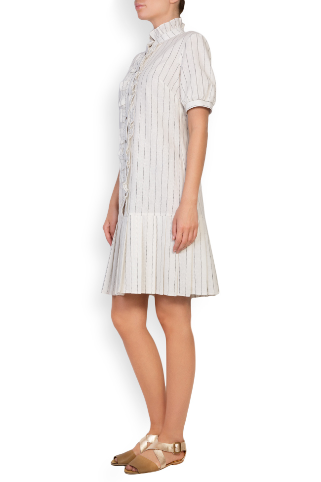 Striped linen-blend ruffled mini dress Ronen Haliva image 1