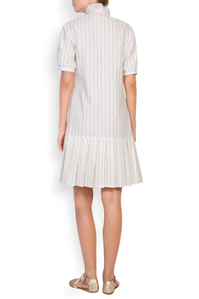 Striped linen-blend ruffled mini dress Ronen Haliva image 2