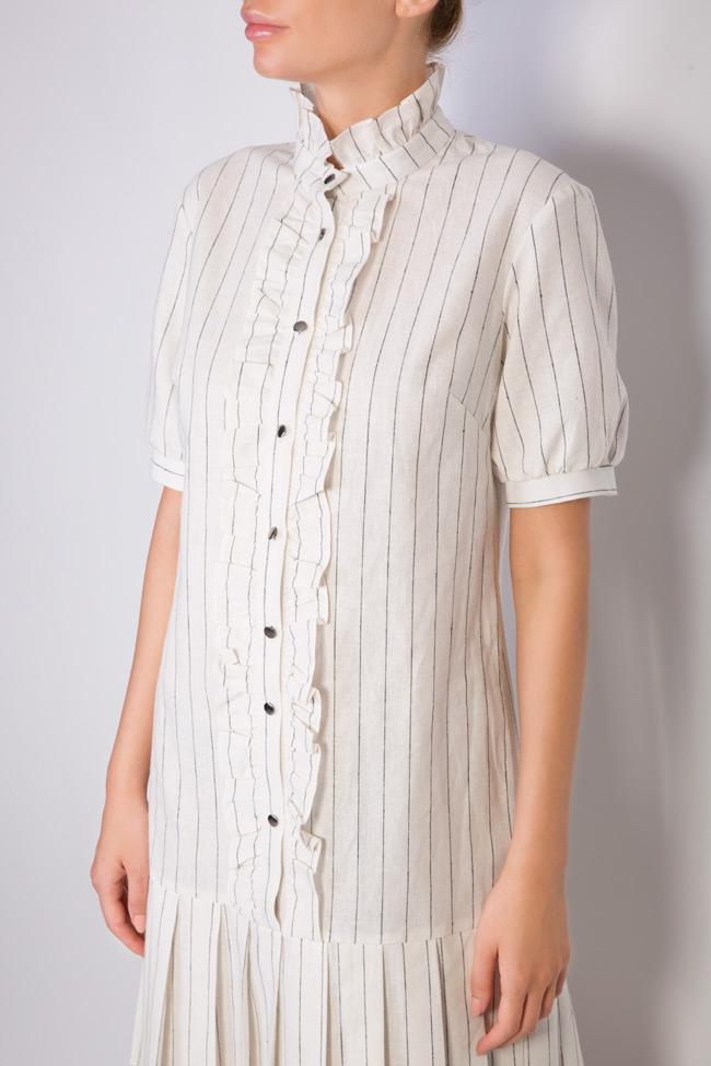 Striped linen-blend ruffled mini dress Ronen Haliva image 3