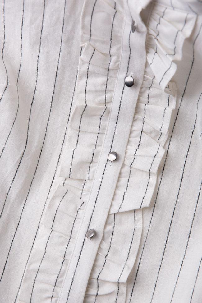 Striped linen-blend ruffled mini dress Ronen Haliva image 4