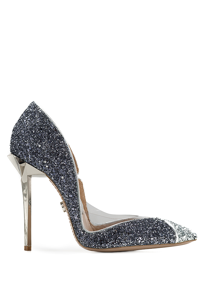 Pantofi din piele si sclipici cu insertii din PVC Ultra Silver Mihai Albu imagine 0