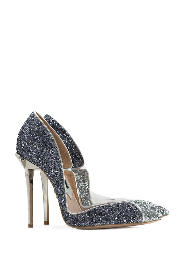 Pantofi din piele si sclipici cu insertii din PVC Ultra Silver Mihai Albu imagine 1