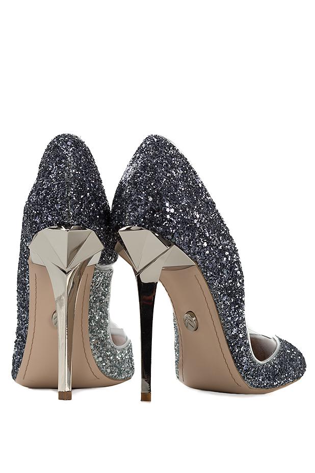 Pantofi din piele si sclipici cu insertii din PVC Ultra Silver Mihai Albu imagine 2