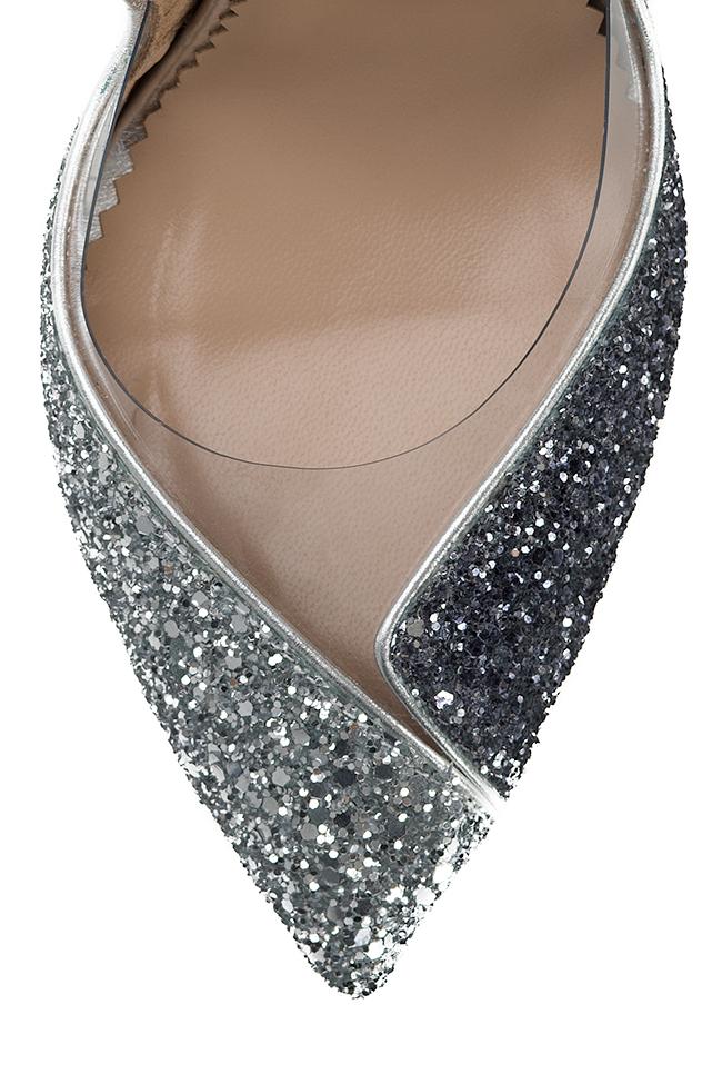 Pantofi din piele si sclipici cu insertii din PVC Ultra Silver Mihai Albu imagine 3