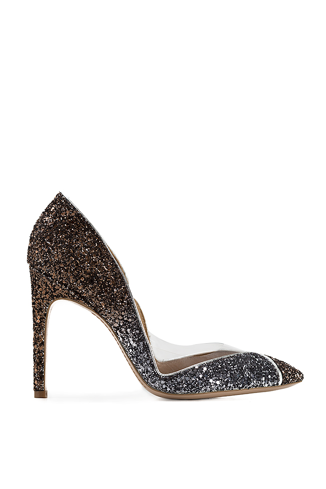 Pantofi din piele cu sclipici si insertii din PVC Ultra Bronze Mihai Albu imagine 0