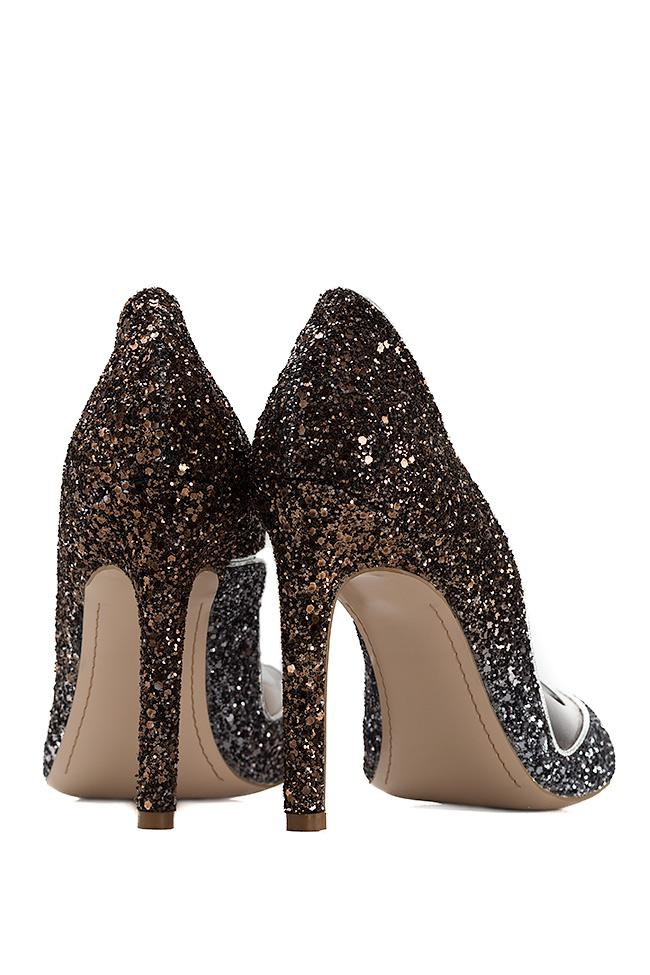Pantofi din piele cu sclipici si insertii din PVC Ultra Bronze Mihai Albu imagine 2