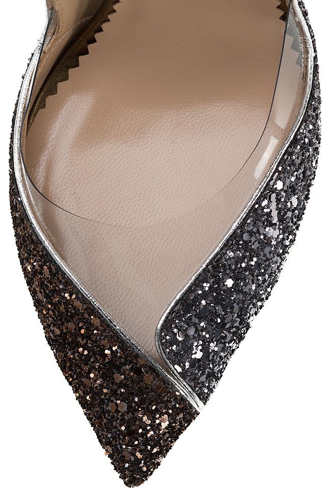 Pantofi din piele cu sclipici si insertii din PVC Ultra Bronze Mihai Albu imagine 3