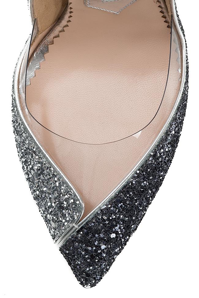 Chaussures en cuir avec paillettes et insertions de PVC Double Argent Mihai Albu image 3