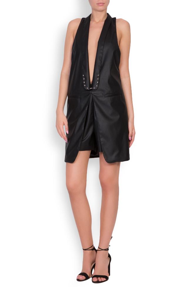 Abella faux leather studded oversized open-back vest Shakara image 0