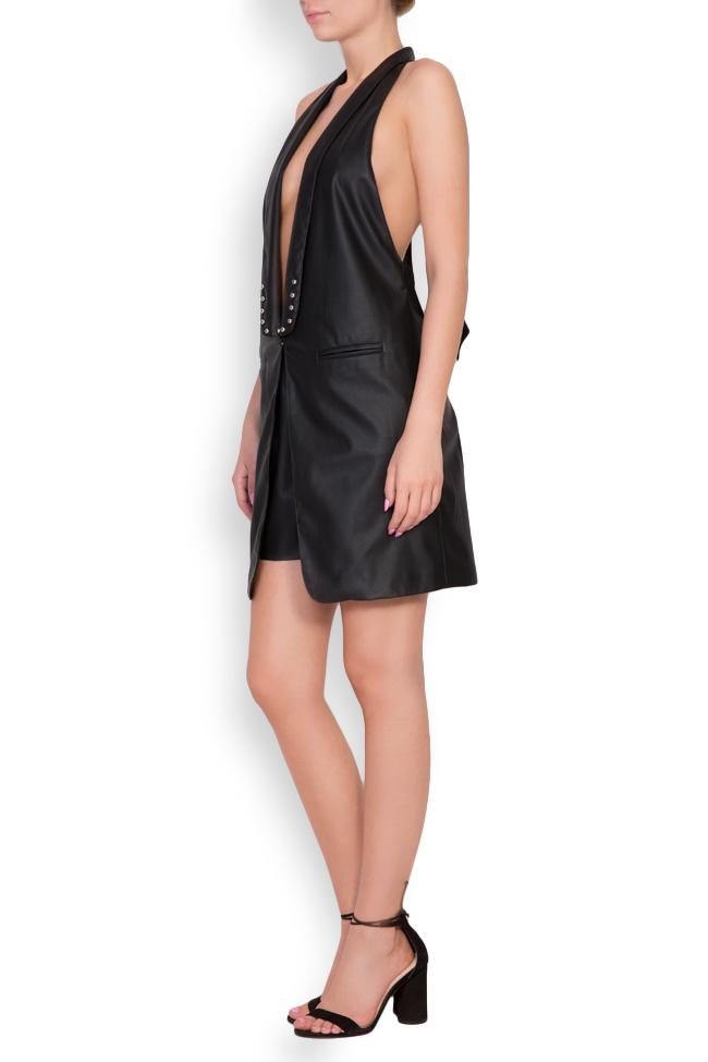 Abella faux leather studded oversized open-back vest Shakara image 1