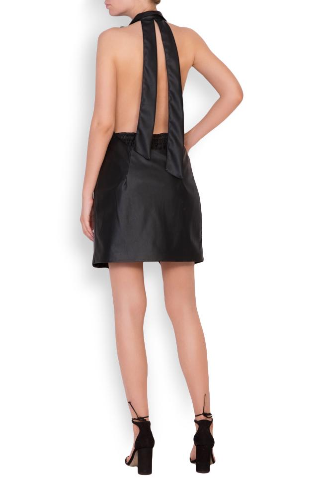 Abella faux leather studded oversized open-back vest Shakara image 2