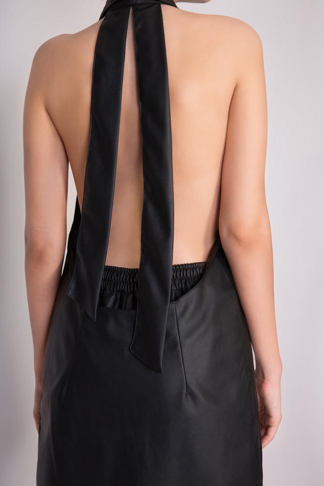 Abella faux leather studded oversized open-back vest Shakara image 3
