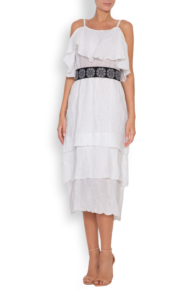 Ruffled embroidered belted linen-blend midi dress Maressia image 0