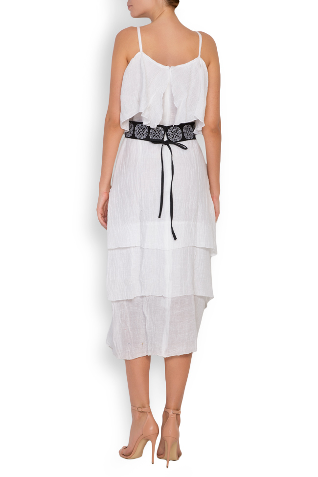 Ruffled embroidered belted linen-blend midi dress Maressia image 2
