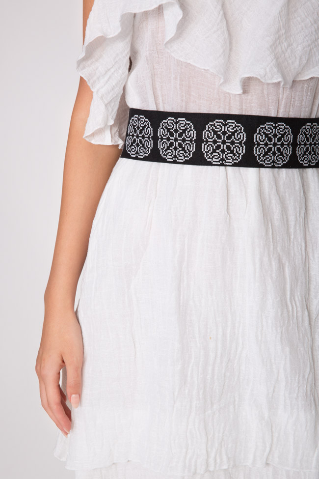 Ruffled embroidered belted linen-blend midi dress Maressia image 3