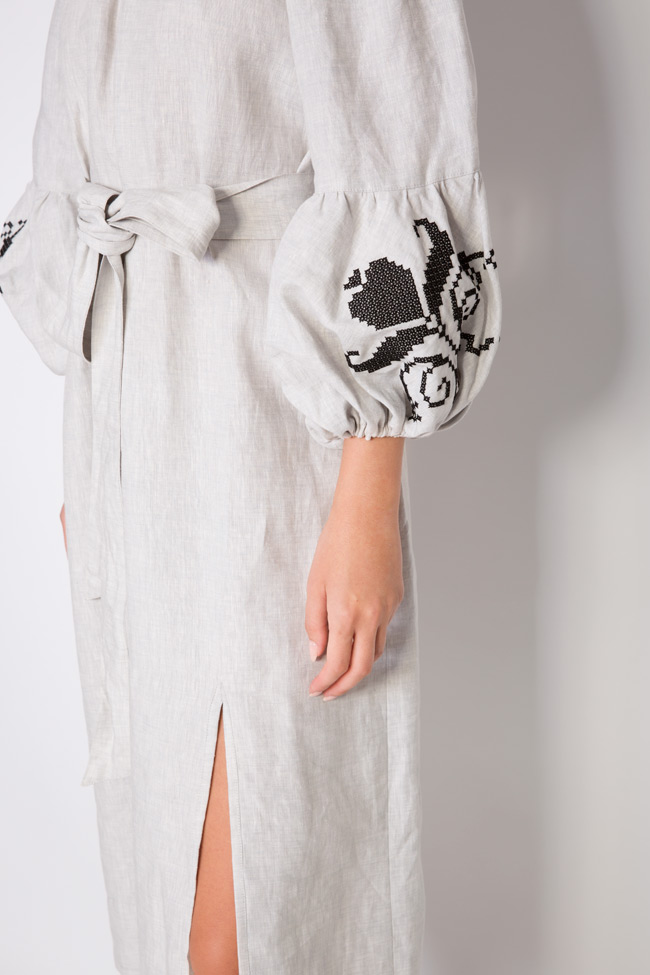 Tulip off-the-shoulder embroidered linen midi dress Maressia image 3