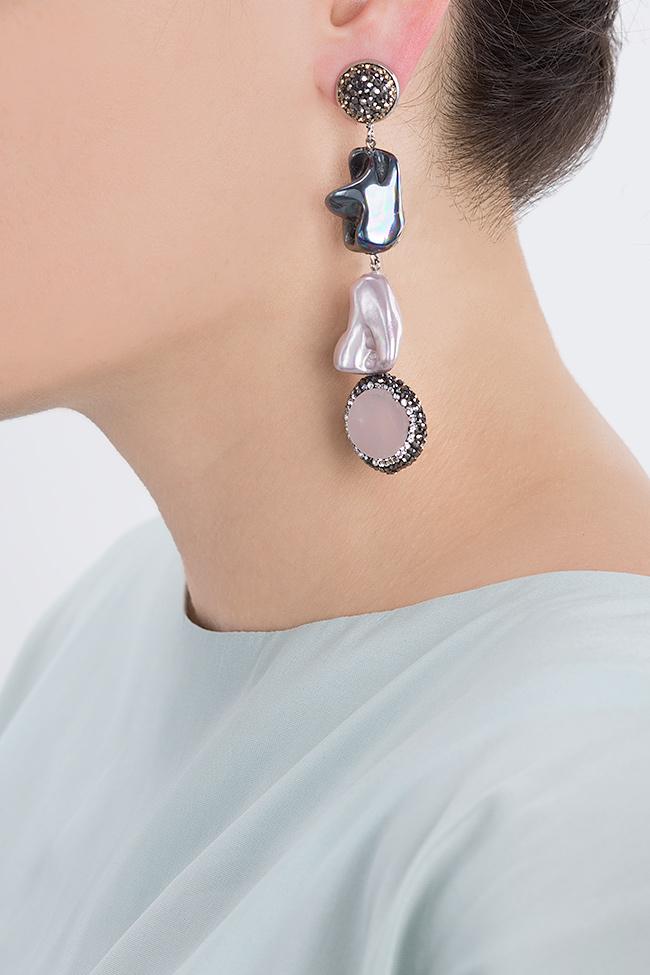 Cercei cu zirconii perle de cultura si quartz Rose Bon Bijou imagine 3