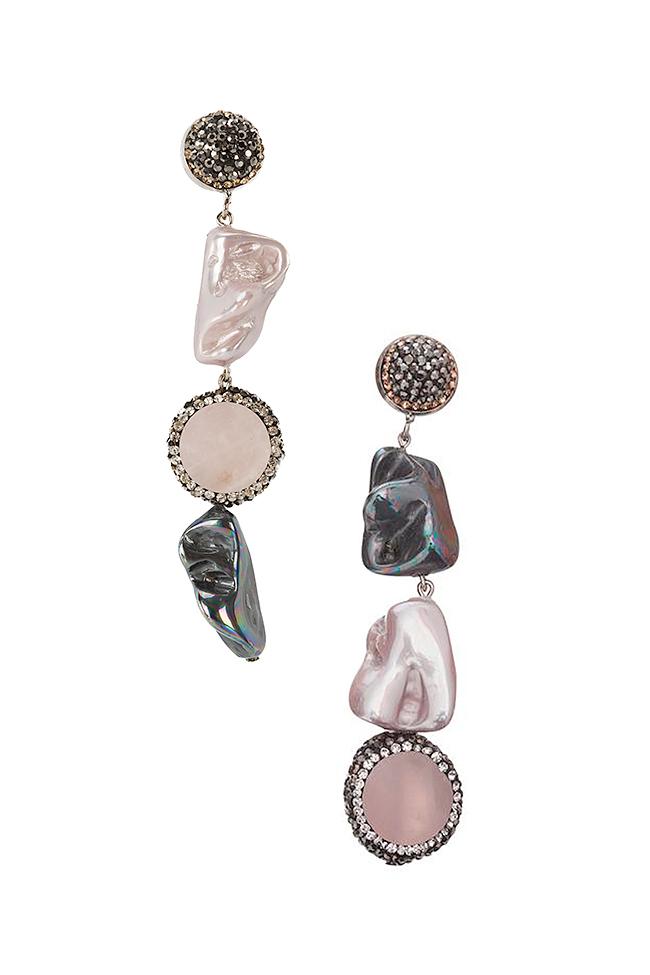 Cercei cu zirconii perle de cultura si quartz Rose Bon Bijou imagine 0