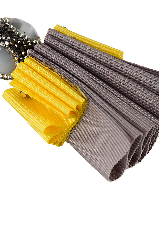 Cercei din material textil si zirconii Bon Bijou imagine 2