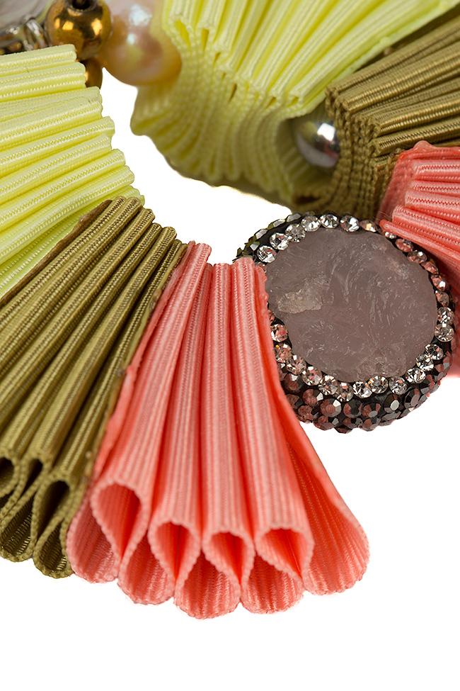 Cercei din material textil si quartz roz Bon Bijou imagine 1