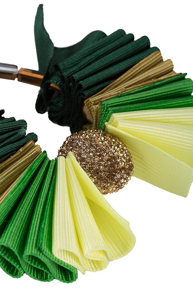 Cercei din material textil si zirconii Bon Bijou imagine 1