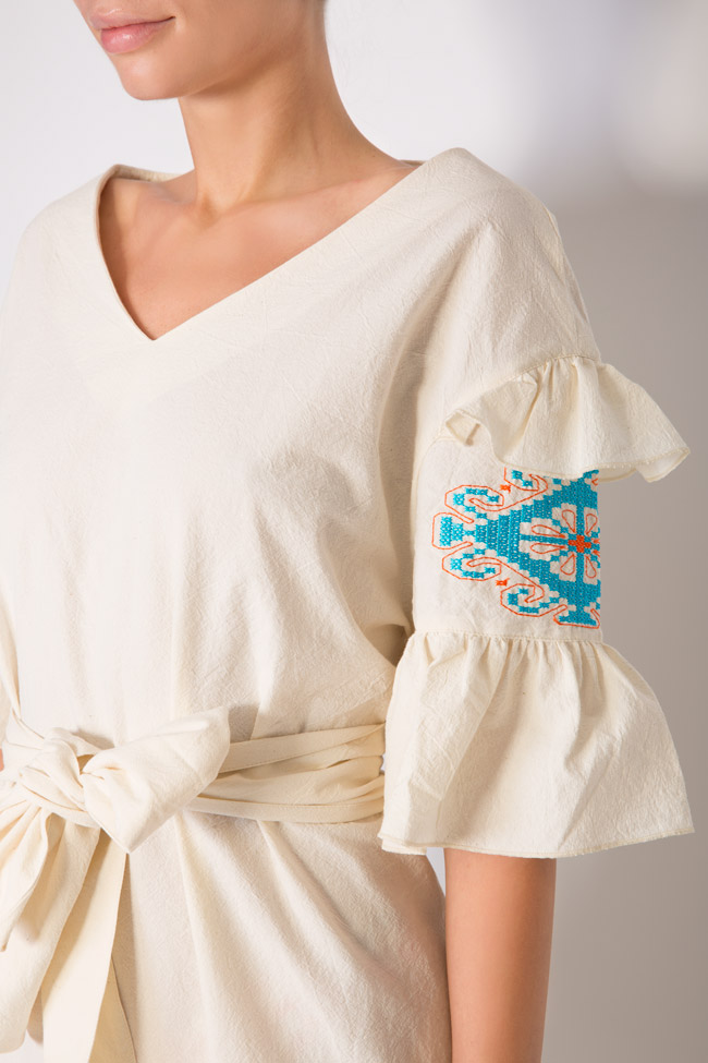 Silk embroidered cotton mini dress Maressia image 3