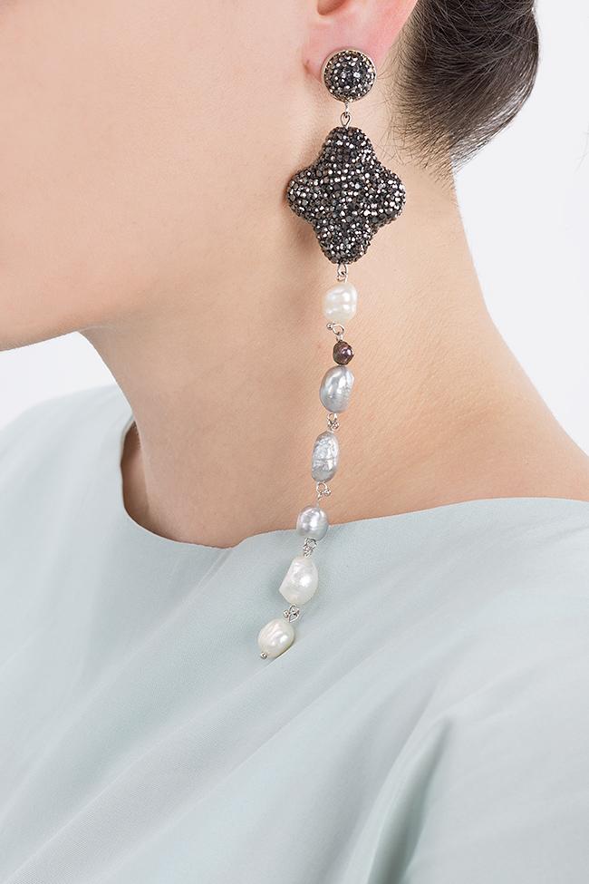 Cercei cu zirconii si perle de cultura Divine Bon Bijou imagine 3