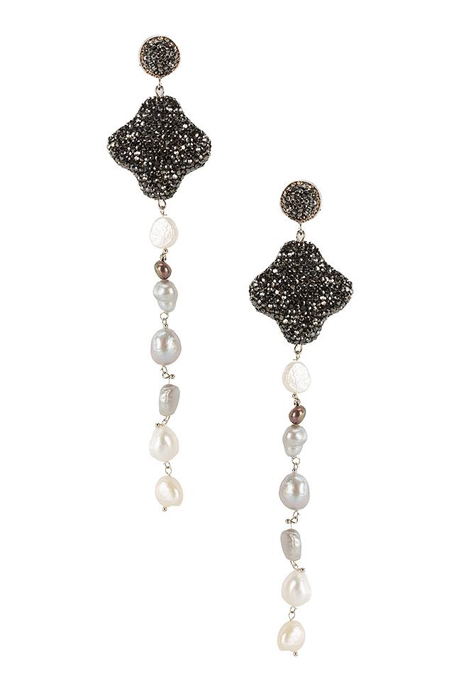 Cercei cu zirconii si perle de cultura Divine Bon Bijou imagine 0