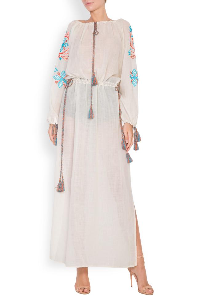 Robe en voile de laine brodée avec fil de soie Spiral Flower Maressia image 0