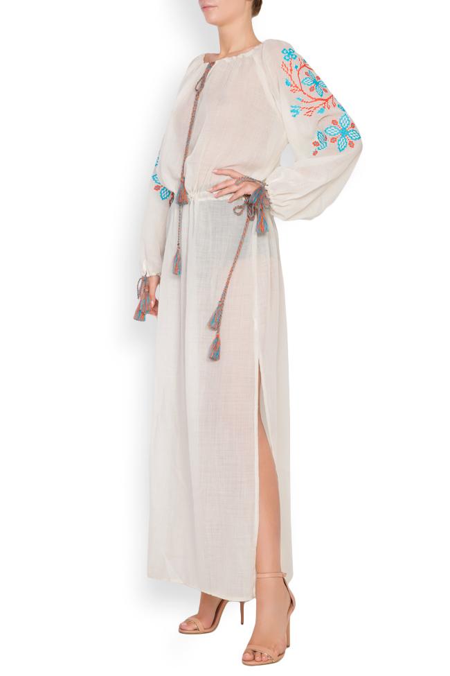 Robe en voile de laine brodée avec fil de soie Spiral Flower Maressia image 1
