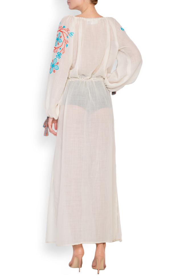 Robe en voile de laine brodée avec fil de soie Spiral Flower Maressia image 2