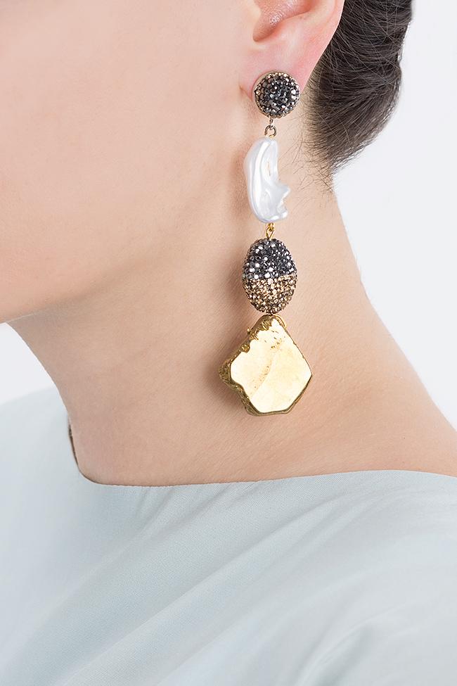 Cercei din lemn cu zirconii quartz si perle de cultura Bon Bijou imagine 3