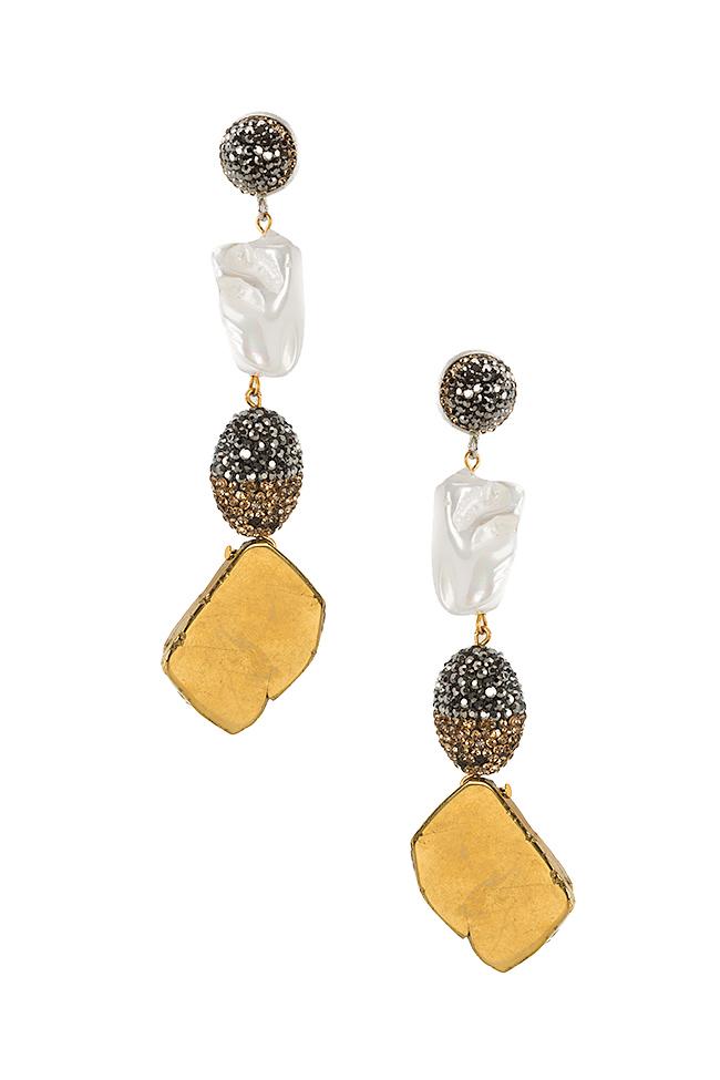 Cercei din lemn cu zirconii quartz si perle de cultura Bon Bijou imagine 0