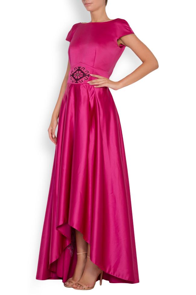 Open-back asymmetric silk-taffeta gown Maressia image 1