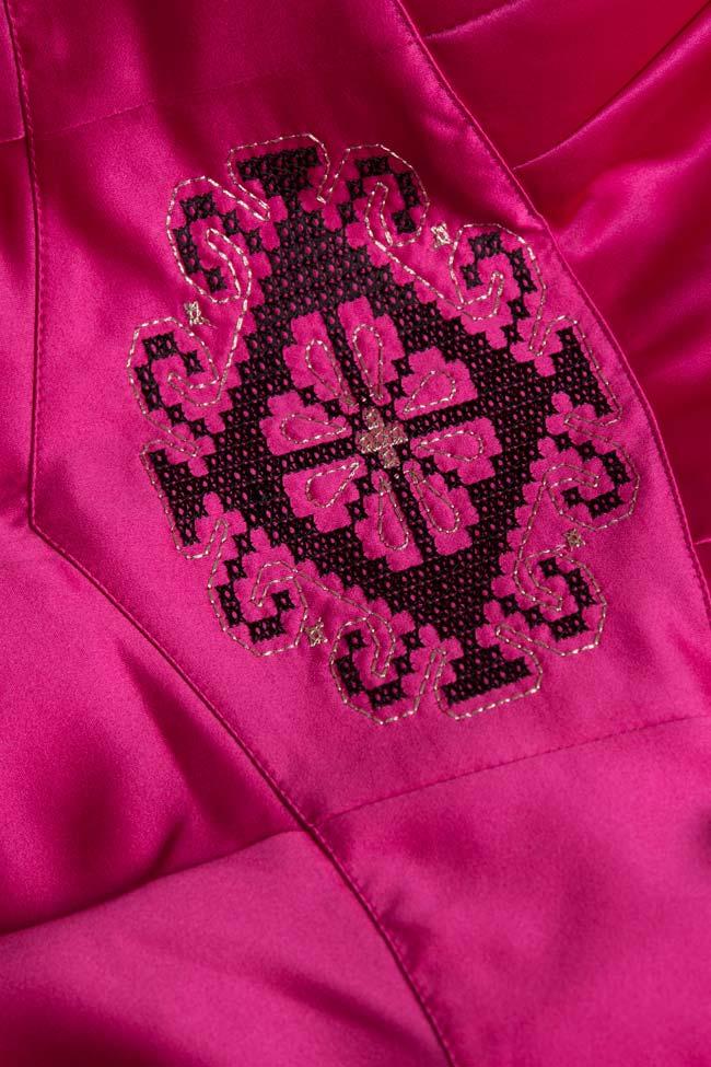 Open-back asymmetric silk-taffeta gown Maressia image 4