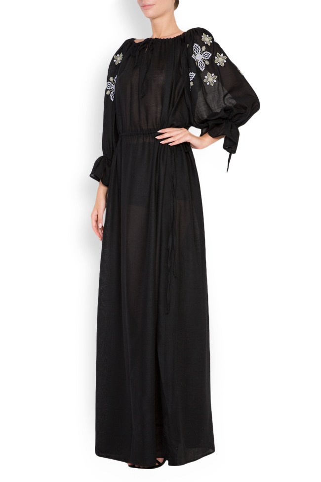 Silk embroidered wool maxi dress Maressia image 1