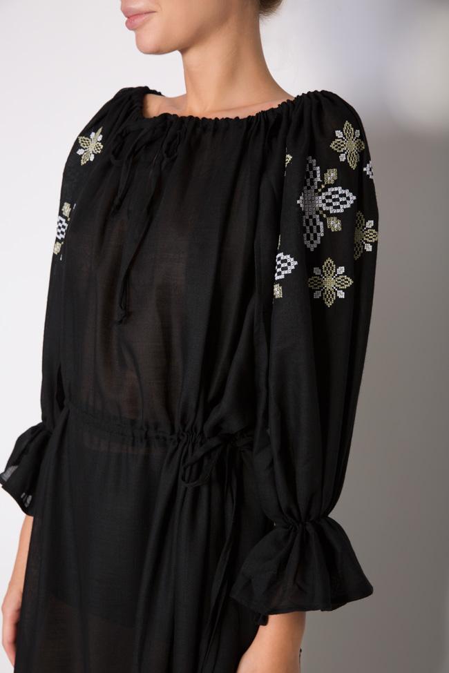 Silk embroidered wool maxi dress Maressia image 3