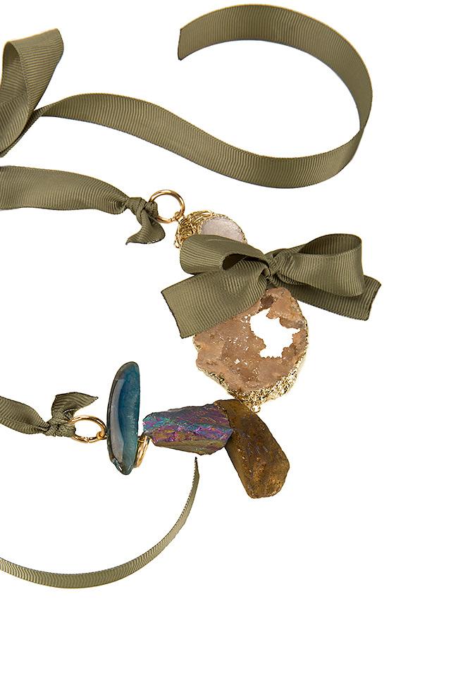 Colier din quartz si foita de aur Bon Bijou imagine 1