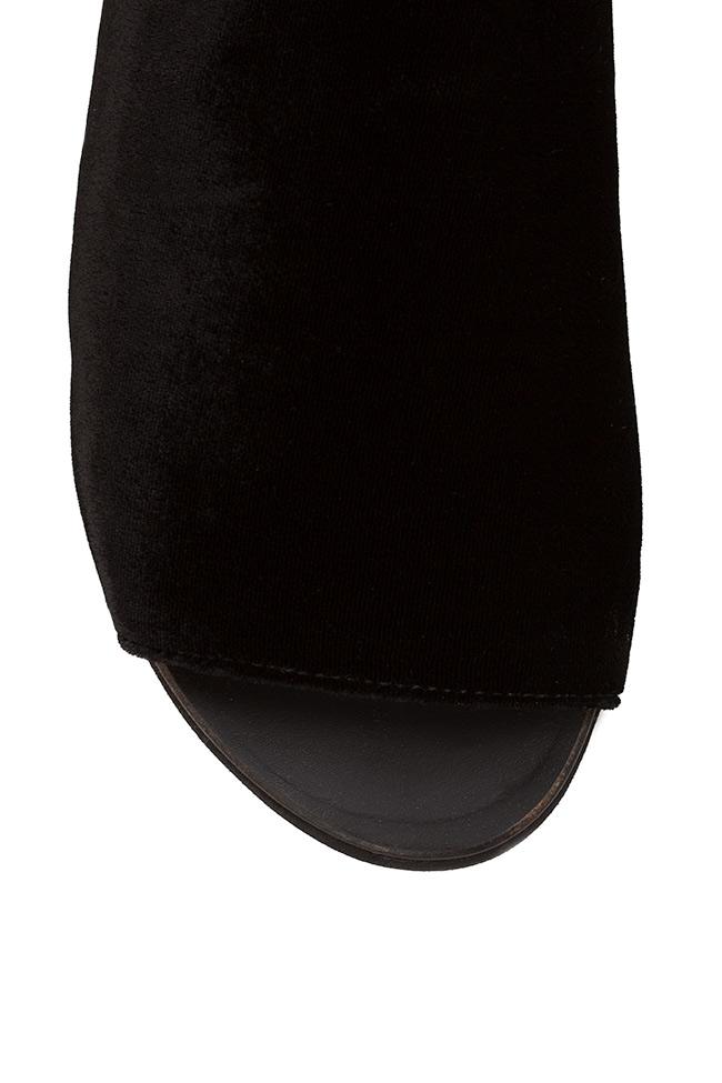 Leather velvet slides Mihaela Gheorghe image 3