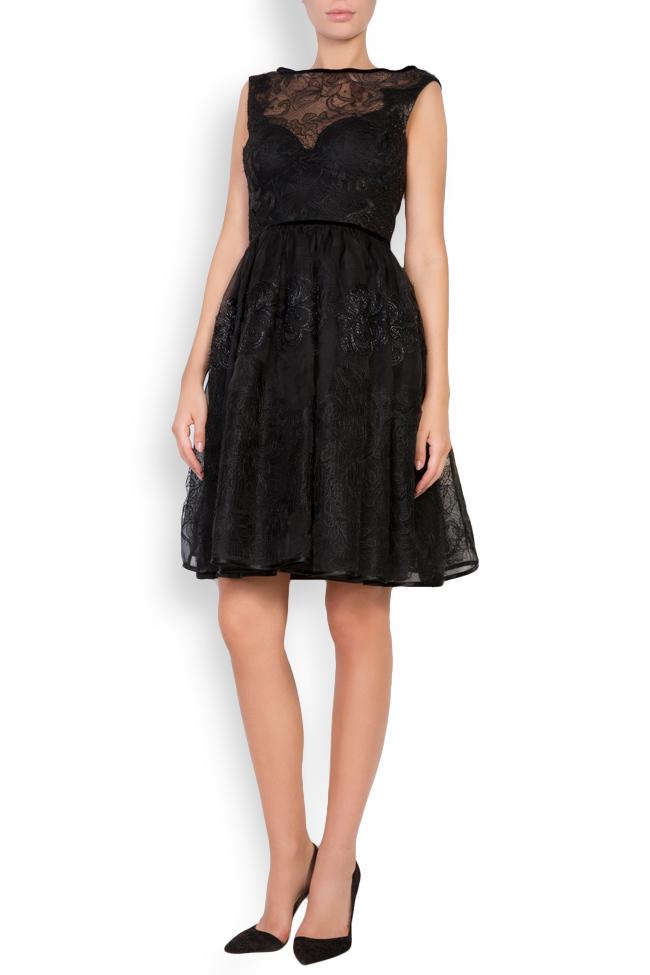 Galene silk-organza lace velvet mini dress Cosmina Englizian image 0