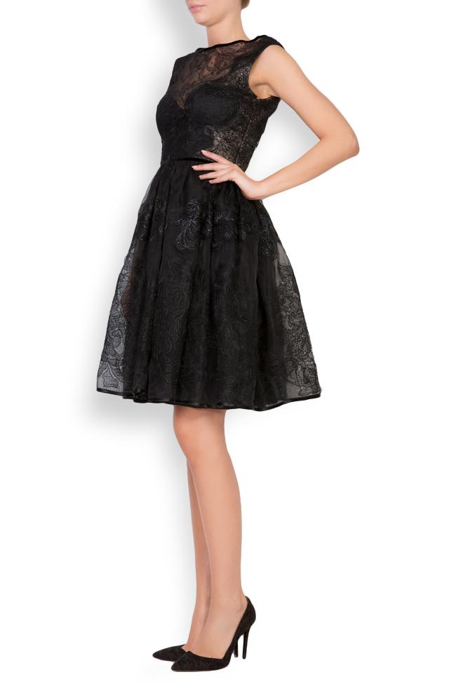 Galene silk-organza lace velvet mini dress Cosmina Englizian image 1