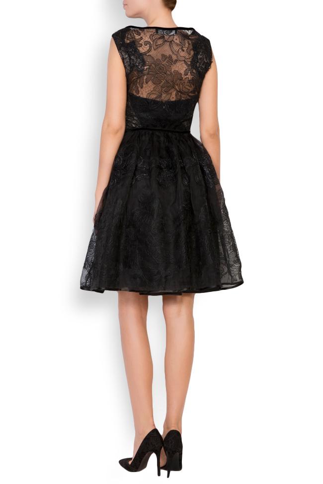 Galene silk-organza lace velvet mini dress Cosmina Englizian image 2