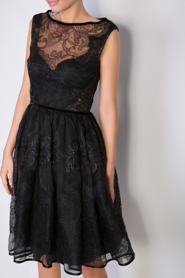 Galene silk-organza lace velvet mini dress Cosmina Englizian image 3