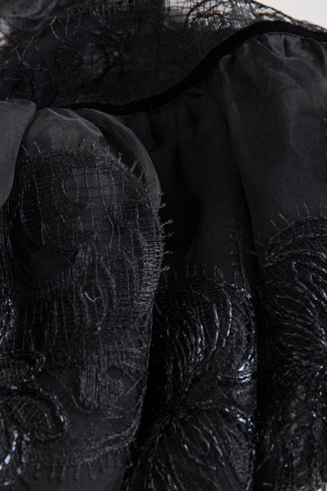 Galene silk-organza lace velvet mini dress Cosmina Englizian image 4