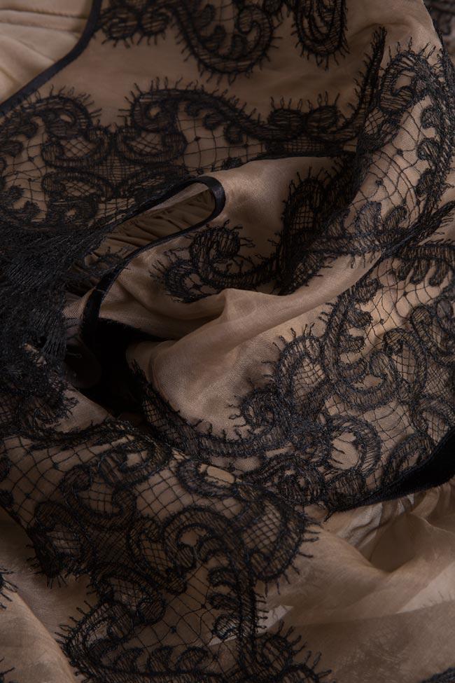 Rochie din organza de matase si dantela Amira Cosmina Englizian imagine 4