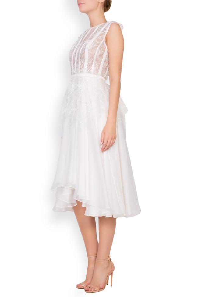 Dyna silk and Chantilly lace midi dress Cosmina Englizian image 1